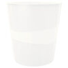 Корзина для бумаг пластиковая Leitz WOW, 15л, белый перламутр