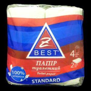 Туалетная бумага Z-BEST, 2-слойная, 4 рулона, белая