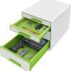 Настольный короб на 4 ящика Leitz WOW CUBE, зеленый 56702