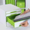Настольный короб на 4 ящика Leitz WOW CUBE, зеленый 56700