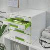 Настольный короб на 4 ящика Leitz WOW CUBE, зеленый 56701