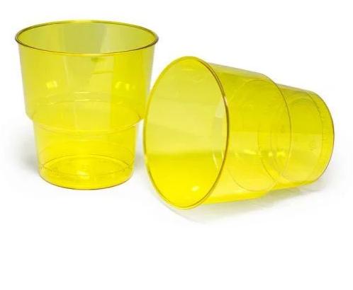 Стакан стеклоподобный, 200мл, 25шт., желтый, с меткой