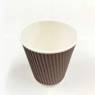 Стакан бумажный, гофра(прямая) 250мл, термостойкий, 20 шт, коричневый