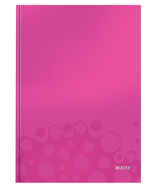 Книга канцелярская Leitz WOW A4, 80 листов, твердая обложка, клетка, розовый металлик