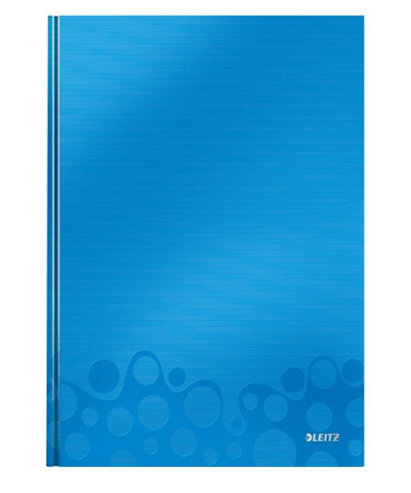 Книга канцелярская Leitz WOW A4, 80 листов, твердая обложка, клетка, синий металлик