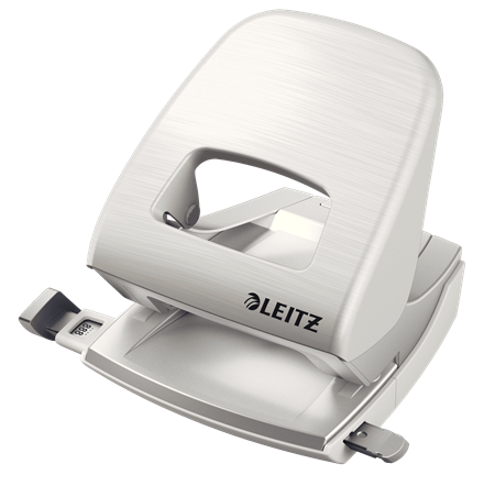 Дырокол пластиковый Leitz New NeXXt Style, пробивает до 30 листов, белая сталь