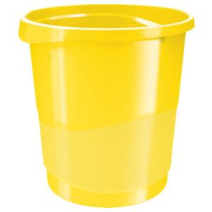 Корзина для бумаг пластиковая Esselte Vivida, 14л, желтая