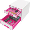 Настольный короб на 4 ящика Leitz WOW CUBE, розовый 56705