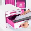 Настольный короб на 4 ящика Leitz WOW CUBE, розовый 56706