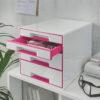 Настольный короб на 4 ящика Leitz WOW CUBE, розовый 56707
