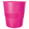 Корзина для бумаг пластиковая Leitz WOW, 15л, розовый металлик