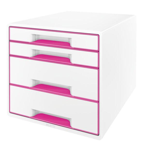 Настольный короб на 4 ящика Leitz WOW CUBE, розовый