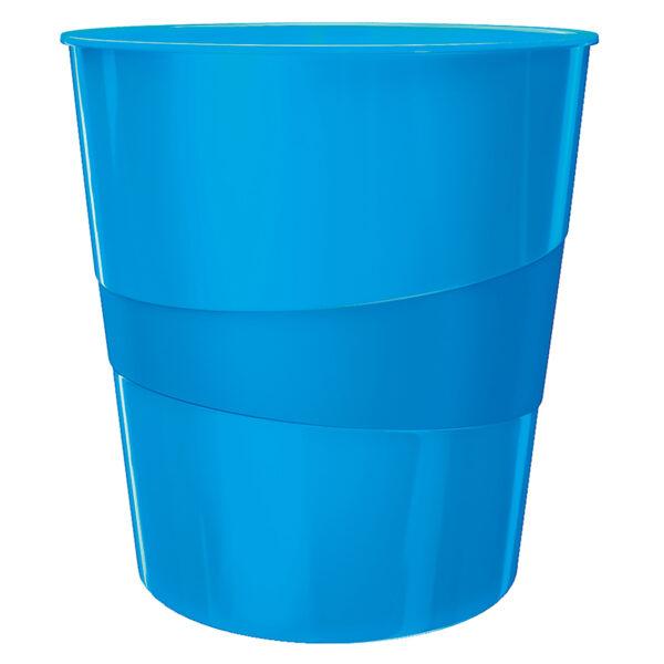 Корзина для бумаг пластиковая Leitz WOW, 15л, синий металлик
