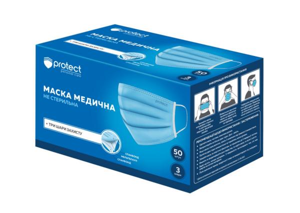 Маски медицинские, голубо-белые, 3 слоя SMS, 50 шт/уп, Protect