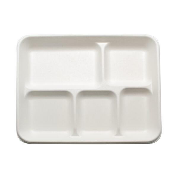 Тарелка бумажная, прямоугольная Эко 26см, 5-ти секционная, белая, 125шт