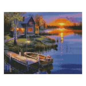 Алмазная мозаика Strateg «Домик у реки на закате», 40х50 см