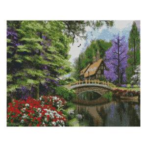 Алмазная мозаика Strateg «Старинный дом с мостиком», 40х50 см