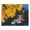 Алмазная мозаика Strateg «Котенок в желтых цветах», 40х50 см