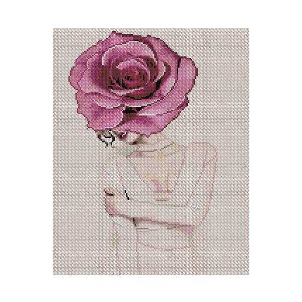 Алмазная мозаика Strateg «Девушка-бутон розы», 40х50 см