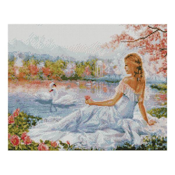 Алмазная мозаика Strateg «Девушка и лебеди» 40х50 см