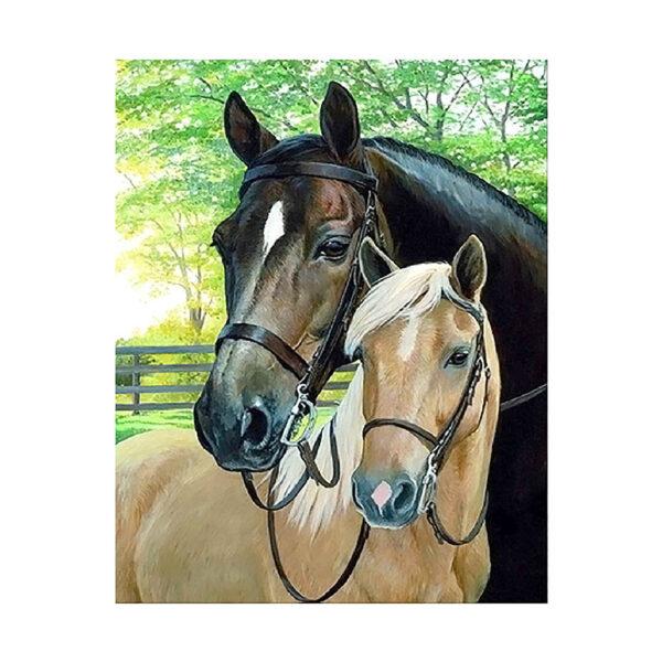 Алмазная мозаика Strateg «Две лошади в парке» 40х50 см