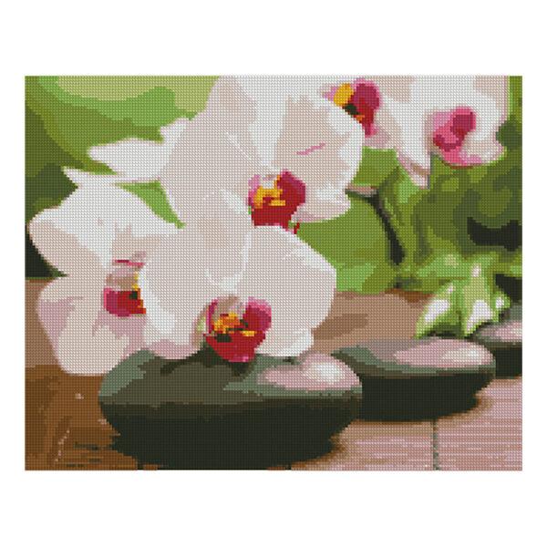 Алмазная мозаика Strateg,«Орхидея на камушках» 40х50 см
