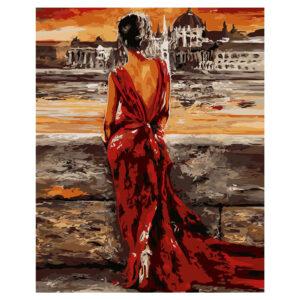 Картина для росписи по номерам «Женщина в красном», 40х50см