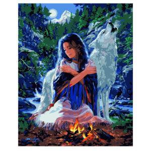 Картина для росписи по номерам «Девушка с волком», 40х50см