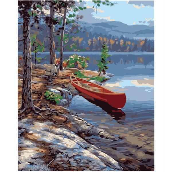 Картина для росписи по номерам «Живописный сосновый берег», 40х50см