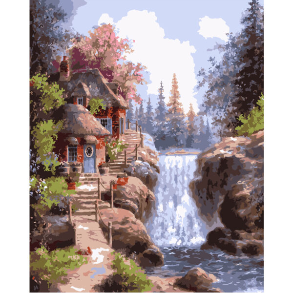 Картина для росписи по номерам «Домик у водопада», 40х50см