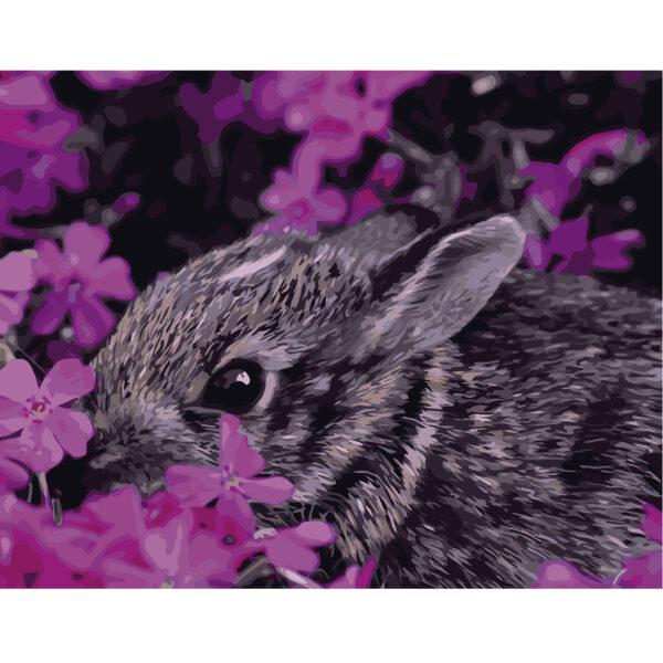Картина для росписи по номерам «Кролик в цветах», 40х50см