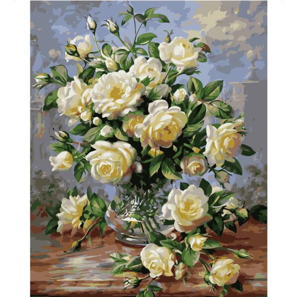Картина для росписи по номерам «Маленькие белые розы», 40х50см