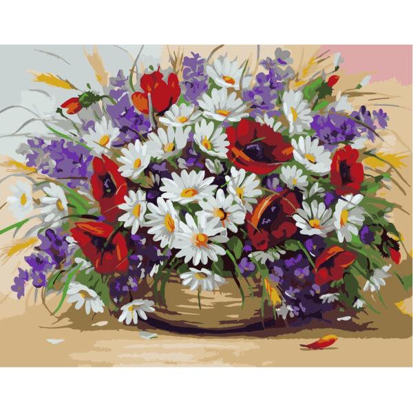 Картина для росписи по номерам «Букет полевых цветов», 40х50см