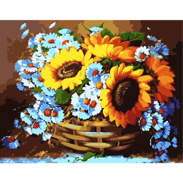 Картина для росписи по номерам «Корзина цветов», 40х50см