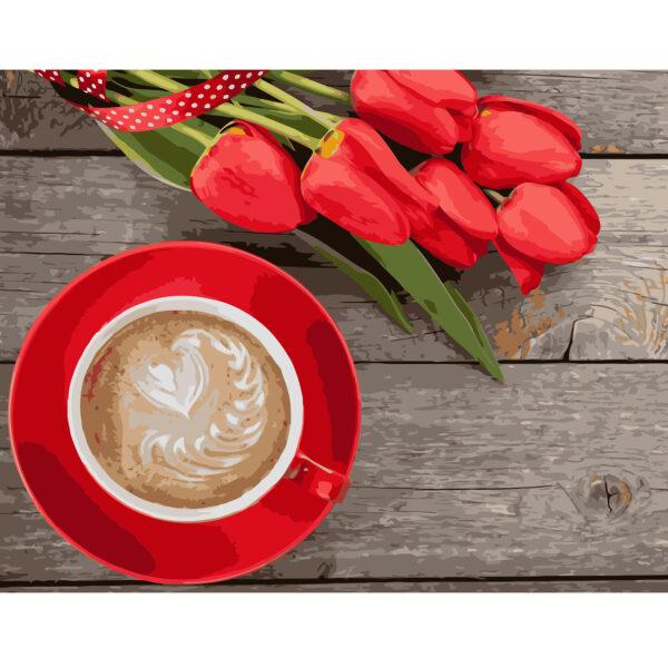 Картина для росписи по номерам «Кофе с тюльпанами», 40х50см