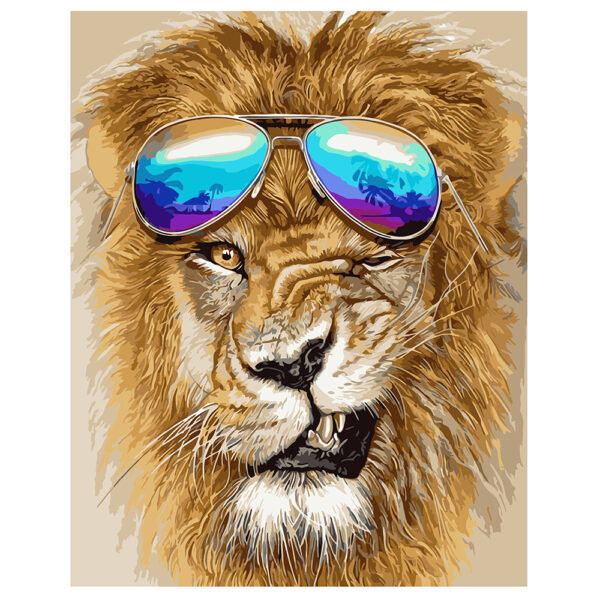 Картина для росписи по номерам «Лев в очках», 40х50см