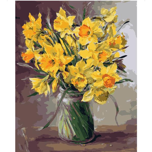 Картина для росписи по номерам «Дачный букет желтых нарциссов», 40х50см