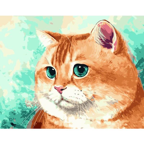 Картина для росписи по номерам «Рыжий кот с голубыми глазами», 40х50см