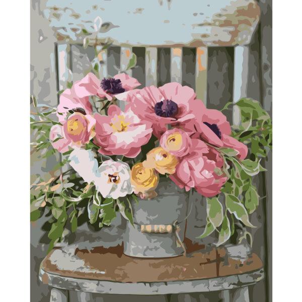 Картина для росписи по номерам «Букет цветов на стульчике», 40х50см