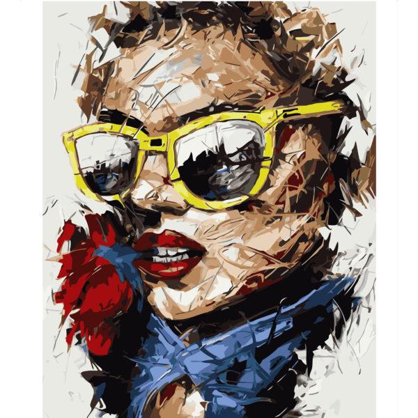 Картина для росписи по номерам «Девушка в желтых очках», 40х50см