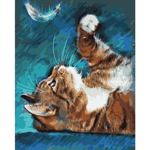 Картина для росписи по номерам «Кошка с пером», 40х50см