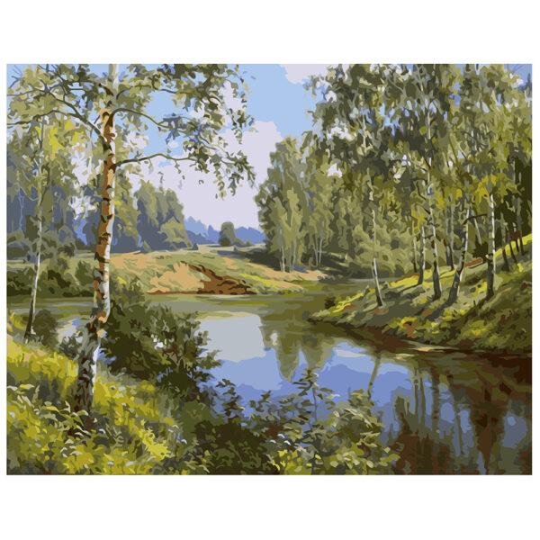 Картина для росписи по номерам «Река в весеннем лесу», 40х50см