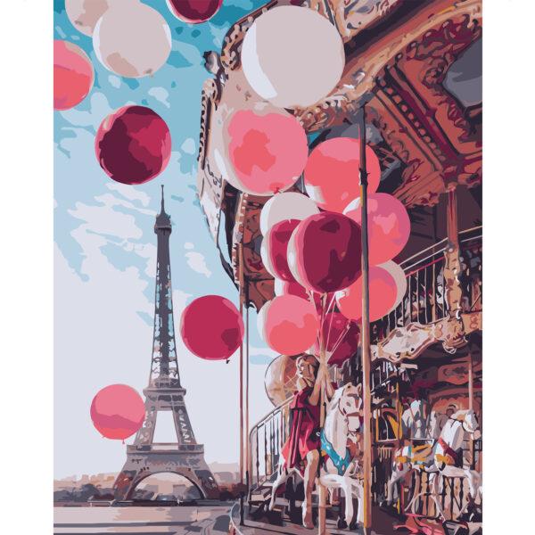 Картина для росписи по номерам «Девушка с шарами в Париже», 40х50см