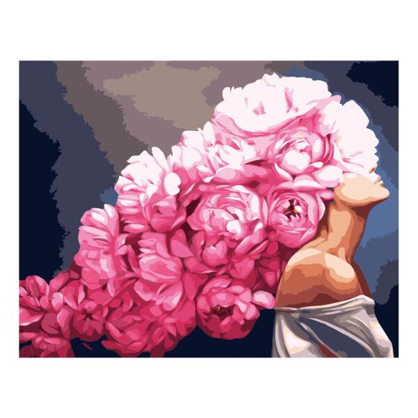 Картина для росписи по номерам «Девушка с розовыми пионами», 40х50см