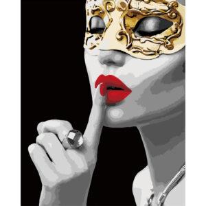 Картина для росписи по номерам «Девушка с золотой маской», 40х50см, с золотой краской
