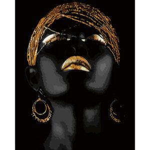 Картина для росписи по номерам «Golden lady», 40х50см, с золотой краской
