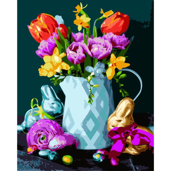 Картина для росписи по номерам «Цветы на Пасху», 40х50см