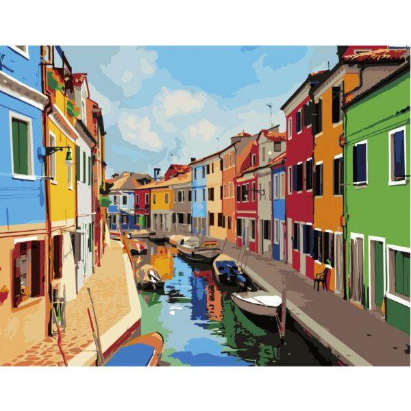 Картина для росписи по номерам «Красочные домики», 40х50см