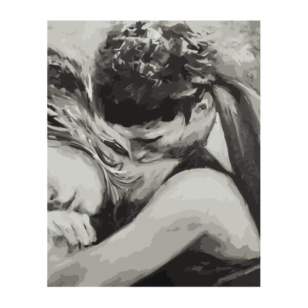 Картина для росписи по номерам «Влюбленные Ч/Б», 40х50см
