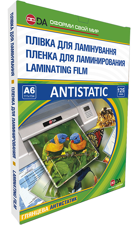 Пленка для ламинирования, глянцевая DA ANTISTATIC А6, 125мкм, прозрачная, 100шт.